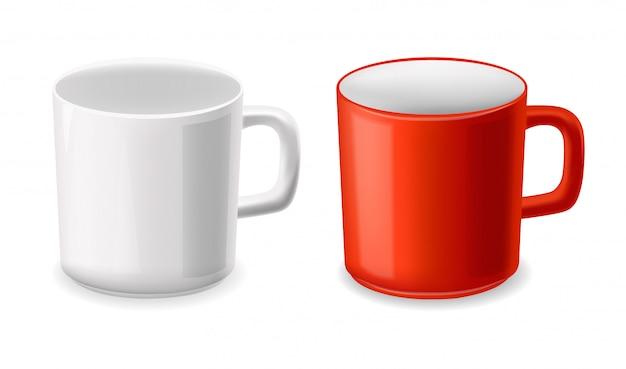 Realistische kop, witte en rode koppen geplaatst geïsoleerd, illustratie