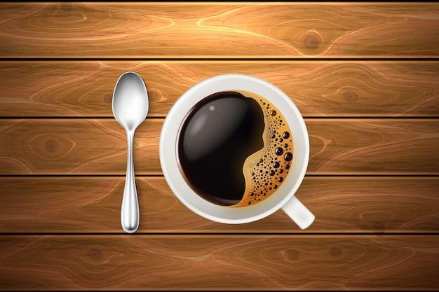 Realistische kopje koffielepel houten textuur