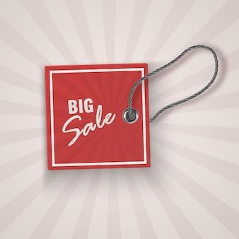 Realistische korting rode tag voor verkooppromotie. vintage labelsjabloon.