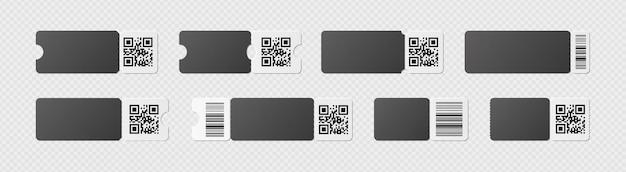 Realistische kortingsbon met qr-code en gegolfde rand