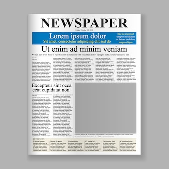 Realistische krant voorpagina sjabloon.
