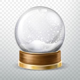 Realistische kristallen bol ingesteld met gevallen sneeuw