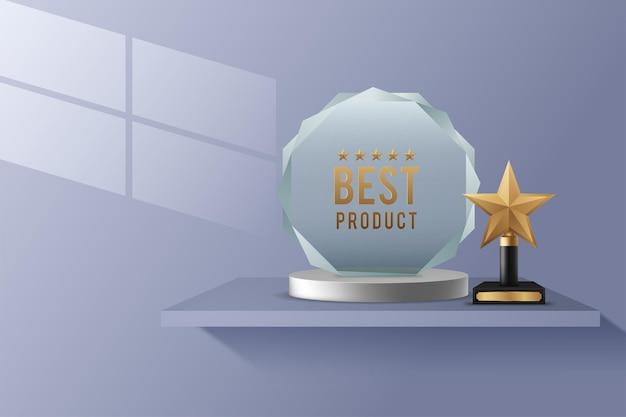 Realistische kristallen glazen awards met tekst