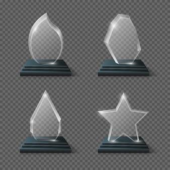 Realistische kristallen trofee, glazen awards set. transparantieplaat van glastrofee, paneel van glas
