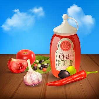 Realistische kruiden en specerijen