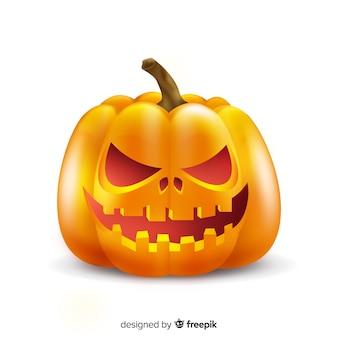 Realistische kwade halloween-pompoen