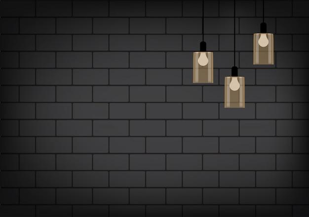 Realistische lamp en verlichting op de bakstenen muur