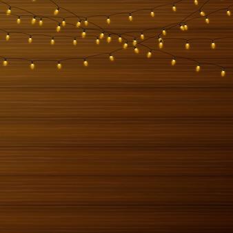 Realistische lantaarnslinger op houten achtergrond.