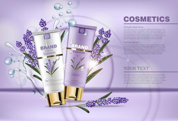Realistische lavendelcrème cosmetische mock-up
