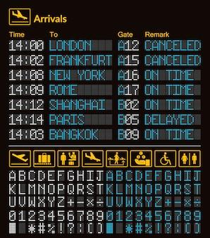 Realistische led digitale board luchthaven sjabloon met alfabet en cijfers