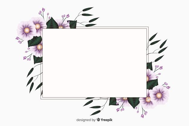 Realistische lege banner met florale frame