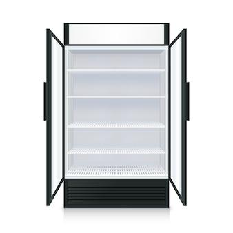Realistische lege commerciële koelkast met planken
