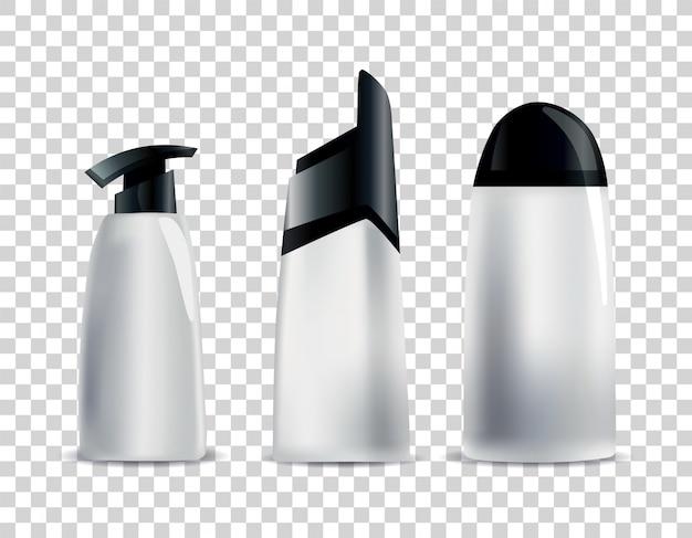 Realistische lege cosmetische buizen. set merkloze pakketten voor lichaamscosmetica. vector mock-up geïsoleerd op wit. cosmetisch productpakket