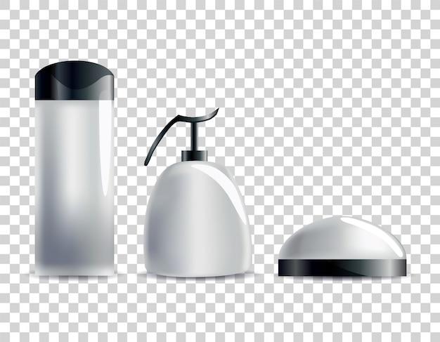 Realistische lege cosmetische buizen. set merkloze pakketten voor lichaamscosmetica.