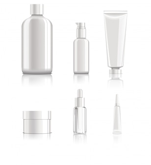 Realistische lege cosmetische pakketten instellen