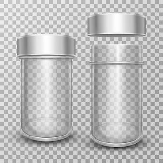 Realistische lege glazen potten met zilverkleurige metalen deksels