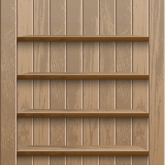 Realistische lege houten plank op houten muurmetagegevens