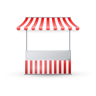 Realistische lege marktkraam met rood en wit gestreepte luifel.