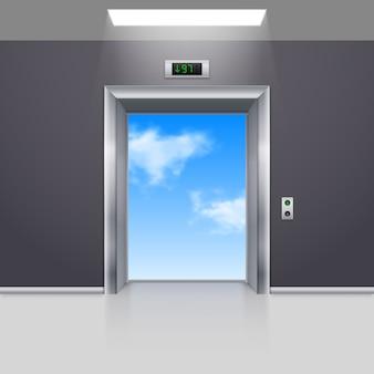 Realistische lege moderne lift naar de blauwe hemel