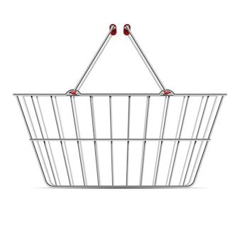 Realistische lege supermarkt het winkelen metaalmand met geïsoleerde handvatten vectorillustratie