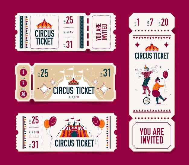 Realistische lege ticket circus set van geïsoleerde kortingsbonnen met bewerkbare tekst en afbeeldingen van big top