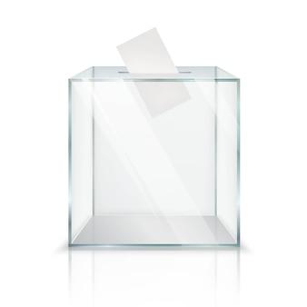 Realistische lege transparante stembus