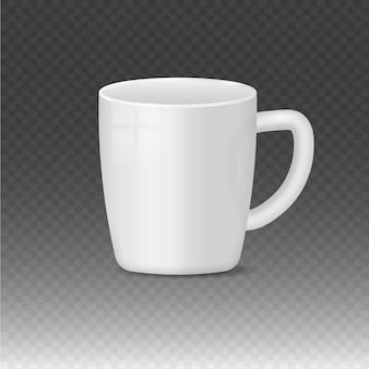 Realistische lege witte en zwarte koffiemok kopjes warme drank container cup klassieke porseleinen gebruiksvoorwerpen