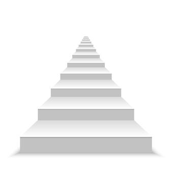 Realistische lege witte trappen.