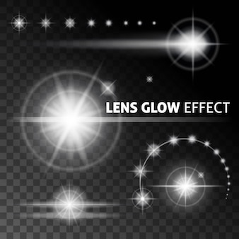 Realistische lensfakkels en stralen flitsen wit licht