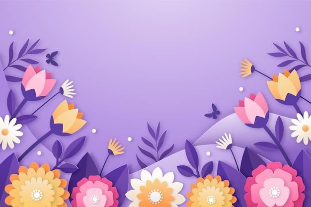 Realistische lente achtergrond in papieren stijl