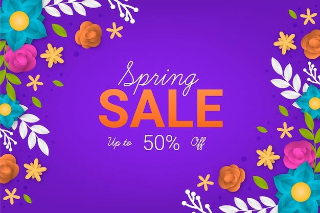 Realistische lente verkoop achtergrond in papieren stijl