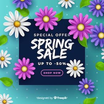 Realistische lente verkoop achtergrond