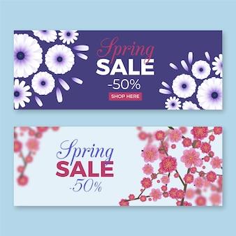 Realistische lente verkoop banners pack