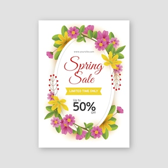 Realistische lente verkoop sjabloon folder