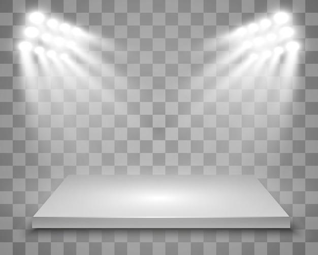 Realistische lichtbak met platformachtergrond voor prestaties, show, tentoonstelling. illustratie van lightbox studio interior. podium met schijnwerpers.