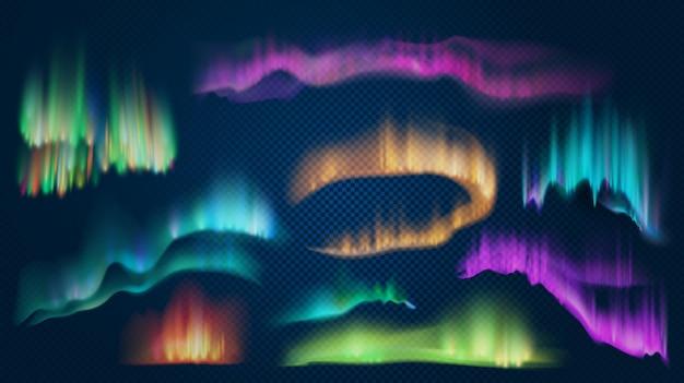 Realistische lichten van arctische aurora borealis, noordelijk natuurverschijnsel. abstract gloeiend golvend effect. poolnachthemellandschap