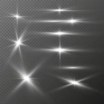 Realistische lichtflitsen set zilveren glitter stralende sterren lichteffecten van flits heldere fakkels