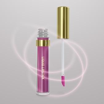 Realistische, lichtroze vloeibare lippenstift. 3d-afbeelding, trendy cosmetisch ontwerp