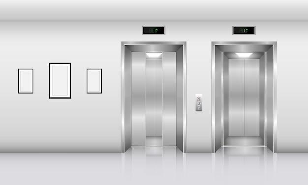 Realistische lift in kantoorgebouw., binnenlands concept