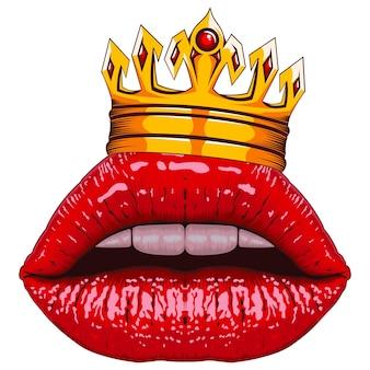 Realistische lippen met kroon op wit wordt geïsoleerd