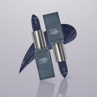 Realistische lippenstift van donkerblauwe kleur met een lijn van lippenstift. 3d-afbeelding, trendy cosmetisch ontwerp