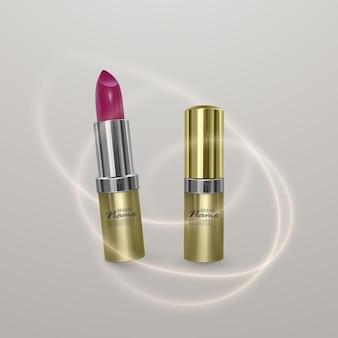 Realistische lippenstift van heldere kersenkleur. 3d illustratie van gouden kleur, trendy cosmetisch ontwerp