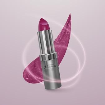 Realistische lippenstift van heldere kersenkleur met een lijn van lippenstift. 3d-afbeelding, trendy cosmetisch ontwerp