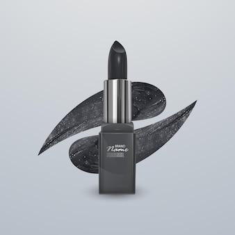 Realistische lippenstift van zwarte kleur met een lijn van lippenstift. 3d-afbeelding, trendy cosmetisch ontwerp