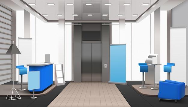 Realistische lobby interieur blauwe elementen