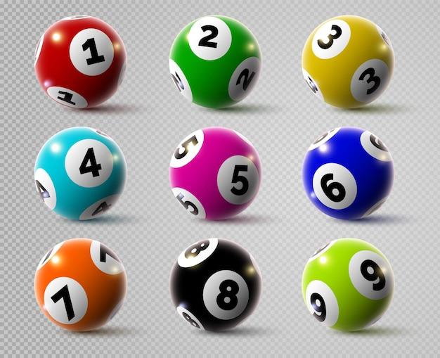 Realistische loterij bingo of keno-spelballen met nummers. 3d lotto of biljartbal. lucky goksport, casino loterij bollen vector set
