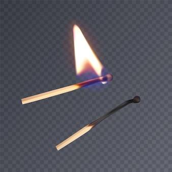 Realistische lucifers, verlichte lucifer en verbrande lucifer.
