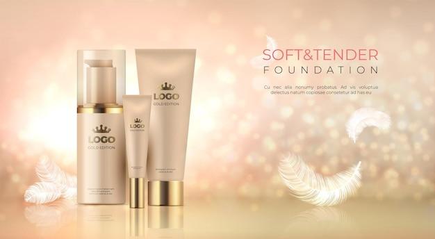 Realistische luxe cosmetica. huidverzorgingsproduct gouden make-up.