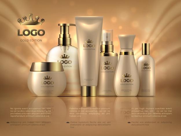 Realistische luxe cosmetische sjabloon