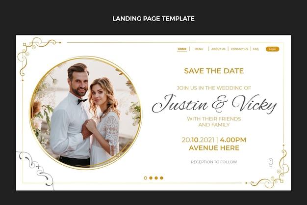 Realistische luxe gouden bruiloft bestemmingspagina